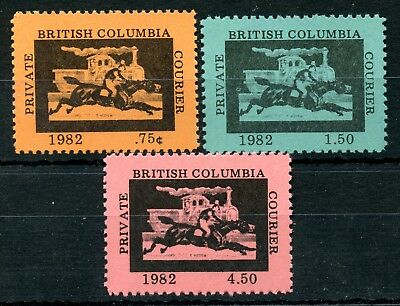 Weeda Canada B4-B6 VF MNH set of 3, 1982 BC Private Courier local labels CV $11