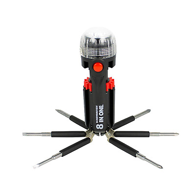 Tool Tech 53390 8 in 1 Screwdriver Multi Tool with Torch