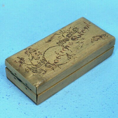 Antique Swiss Black Forest Wood Carving NEEDLE SEWING BOX HAPPY EASTER Pyrograph