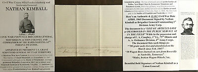 CIVIL WAR FULL GENERAL WIA COLONEL 14th INDIANA INFANTRY KIMBALL DOCUMENT SIGNED