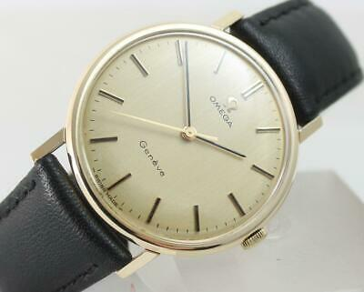 Rare Vintage 1970 Gents Solid 9ct Gold Omega Geneve Watch +Box Stunning