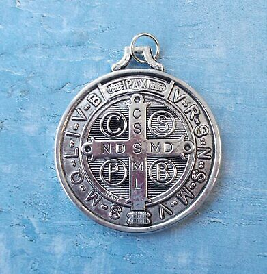 """Large Medalla De San Benito~St Benedict~Round Silver tone OX Jubilee 1.5"""" Medal"""