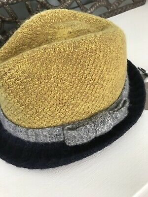 NWT  78 ANTHROPOLOGIE Hat Fedora Straw Stripes Blue Genie Eugenia ... c73d45e2c16f