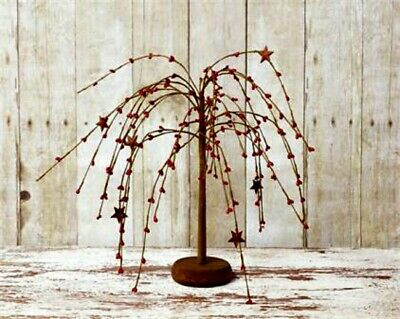 Country`Primitive Red Pipberry `Willow Tree` 13.5 inches Tall` Wooden Base