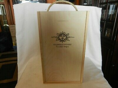 Edgefield Winery Troutdale Oregon Wooden Wine Bottle Storage Box for 2 Bottles