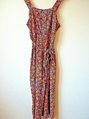Women Ex New Look Rust with Floral print Belted Crop Wide Leg Jumpsuit Size 6-16