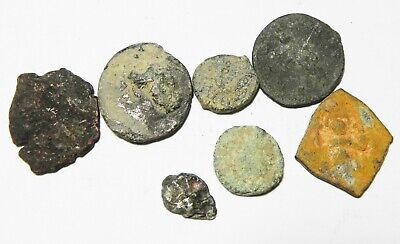 ZURQIEH -as10940- LOT OF 7 MIXED ANCIENT COINS, 2 SILVER.
