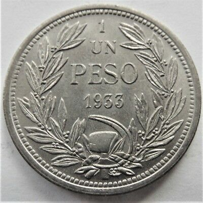 1933 CHILE, 1 Peso-1933, grading UNCIRCULATED/