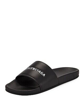 d679768e4ad0 NIB BALENCIAGA Logo Black Leather Flat Pool Slide Sandals New 9M 42  595