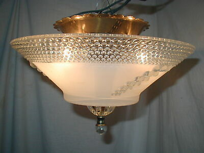 Vtg Antique Art Deco To Mcm Bubble Berwick Glass Shade Light Fixture Chandelier