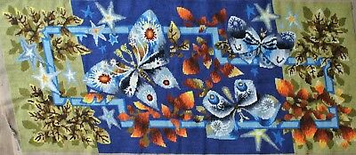 Vintage French Butterflies at Night Needlepoint 43 x18 Completed Royal Paris