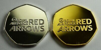 Pair of RED ARROWS Commemoratives. Collectors/Albums. Silver & 24ct Gold. RAF