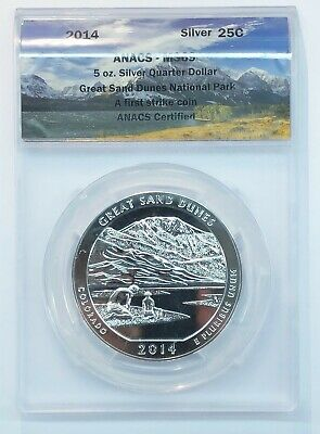 2014 America the Beautiful 5 Oz Silver Great Sand Dunes ATB Coin ANACS MS69