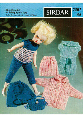 "Vintage Knitting Pattern  Copy - To Knit For  12"" Teenage Dolls In 3Ply"