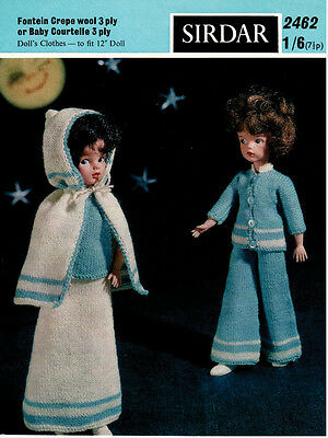 "Vintage Knitting Pattern  Copy - To Knit For  12"" Teenage Dolls In  3Ply Yarn"