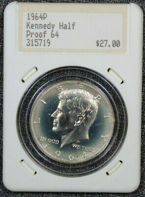 1964 Accented Hair Proof Kennedy Half Dollar in Hannes Tulving Case