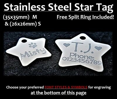 Stainless Steel STAR ID Tag With FREE Personalised Engraving for Dog Cat Pets