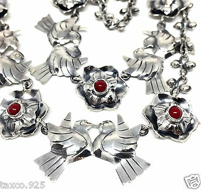 7c4b31349f77 Frida Kahlo Style Taxco Mexican 925 Sterling Silver Coral Bird Necklace  Mexico