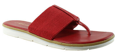 7cdca2cf1d24e ATHENA ALEXANDER WOMEN S Red Rhinestone Wedge Heel Thong Sandals ...
