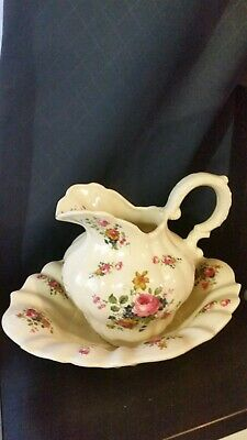 Wash Bowl and Jug / pitcher .   English Floral - antique