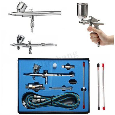 Airbrush Spray Gun Dual Action Air Brush Craft Tattoo Hose Kit Set
