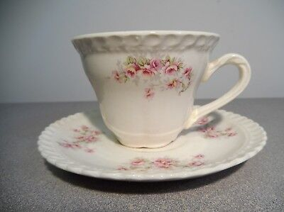 Vintage Fine Bone China * Demitasse Tea Cup and Saucer Set * Small Pink Rose