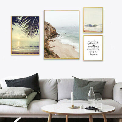 Mountain Beach Landscape Canvas Poster Nordic Wall Art Print Living Room Decor