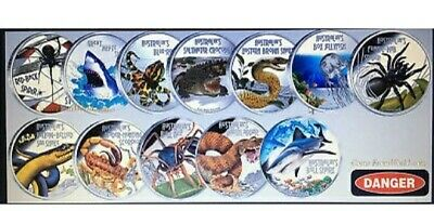 Tuvalu Deadly and Dangerous Animals of Australia 13 Coin Collection incl. Dingo