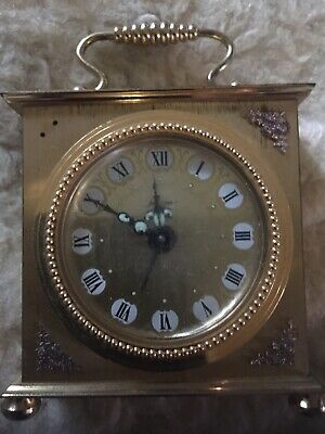 Vintage Collectable German Brass Carriage Small Clock
