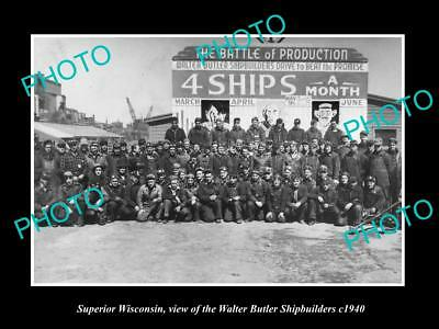 OLD LARGE HISTORIC PHOTO OF SUPERIOR WISCONSIN, THE WALTER SHIP BUILDERS c1940