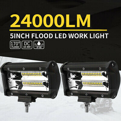 X 5'' inch LED Work Driving Light Bar Flood Beam Offroad Boat Truck 12V 24V