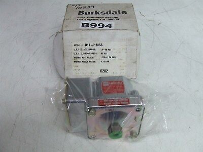 Barksdale D1T-H18Ss .4-18 Psi Pressure Or Vacuum Switch *New*