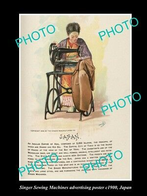 OLD LARGE HISTORIC PHOTO OF SINGER SEWING MACHINE AD POSTER c1900 JAPAN