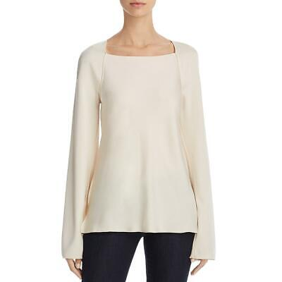 Elizabeth and James Womens Danel Ivory Satin Long Sleeve Blouse Top XS BHFO 8282
