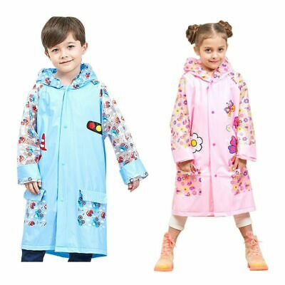 PVC Baby Kids Girls Boy Cartoon Backpack Raincoat Rainproof Waterproof Rain Coat