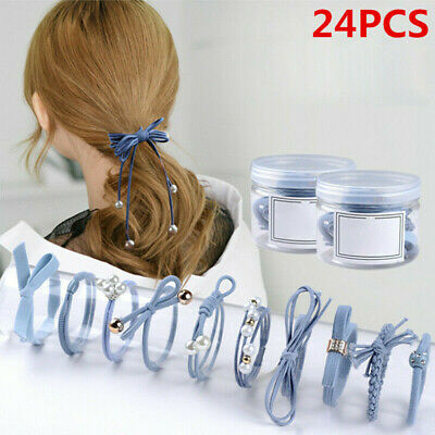 24 x High Elastic Girls Hair Bands Solid Pearl Stretch Hair Ties Ponytail Holder