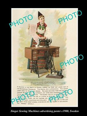 OLD LARGE HISTORIC PHOTO OF SINGER SEWING MACHINE AD POSTER c1900 SWEDEN