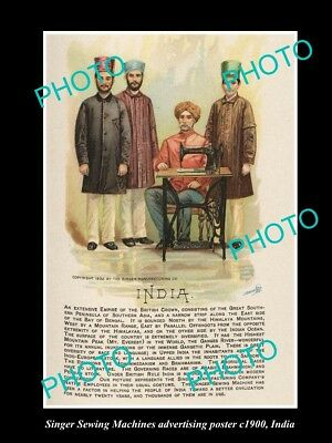 OLD LARGE HISTORIC PHOTO OF SINGER SEWING MACHINE AD POSTER c1900 INDIA