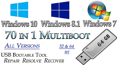 WINDOWS 10, 8.1, 7 ALL VERSIONS Multiboot ✅64GB USB 32/64bit✅Install repair Fix