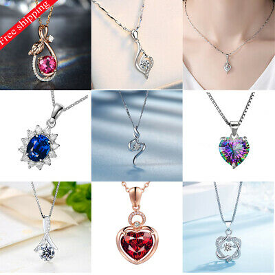Women Silver Plated Zircon Micro-inlaid Wild Clavicle Chain Necklace Simple Pend