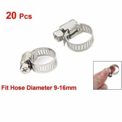 20 pcs 9mm-16mm Adjustable Stainless Steel Worm Gear Hose Clamps Silver Tools