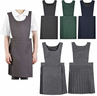 Girls Pleated Pinafore Dress Kids Black Grey Navy Green All Sizes School Uniform