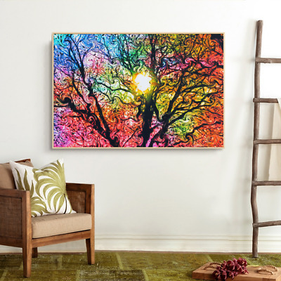 Psychedelic Trippy Art Fabric Silk Cloth Rolled Wall Poster Print Decor