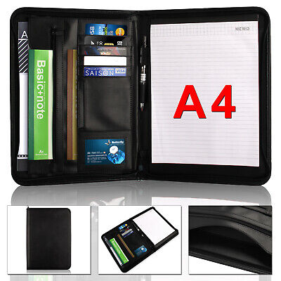 A4 Leather Folder Organiser Business Zipped Portfolio Case Conference File UK