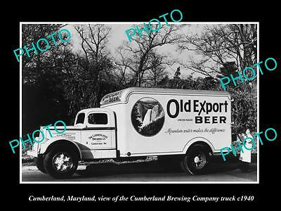 OLD LARGE HISTORIC PHOTO OF CUMBERLAND MARYLAND, CUMBERLAND BREWERY TRUCK c1940