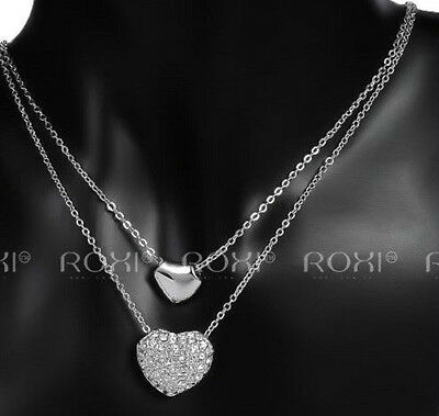 White Gold Plated Silver, Austrian Crystal Double Layer Heart Pendant Necklace