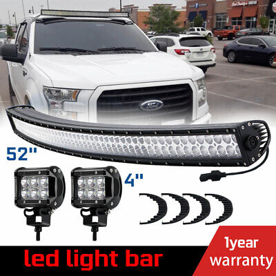 """700W 52inch LED Light Bar Curved Combo + 4"""" Pods Truck Roof Driving 4WD Offroad"""