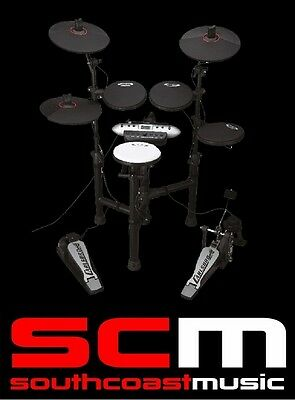 New Black Carlsbro Csd130 Electric Drumkit Compact 5 Piece Electronic Drum Kit