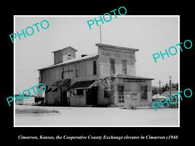 OLD LARGE HISTORIC PHOTO OF CIMARRON KANSAS, THE CO-OP EXCHANGE ELEVATOR c1940