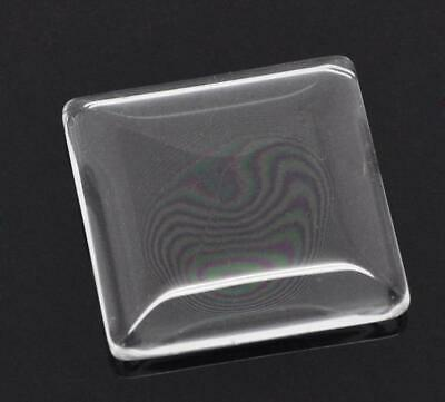 10 x Glass Cabochons 25x25mm Square Clear Transparent Flat Back Dome FREE POST